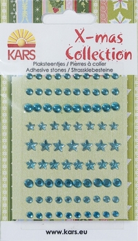 X-mas collection Plaksteentjes facet rond ster 059 blauw