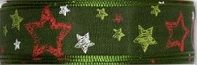 Decoratief lint met sterrren 548 groen