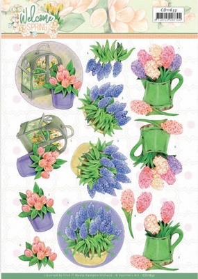 Jeanine's Art Welcome Spring 3D Knipvel CD11633 Hyacinth