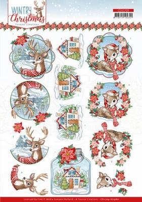 Yvonne Wintery Christmas 3D Knipvel CD11709 Deer/hert