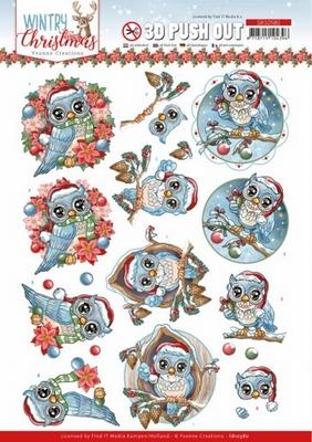 Yvonne Wintery Christmas 3D PushOut SB10580 Owls/uiltjes