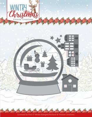 Yvonne Wintery Christmas Dies YCD10247 Snowman in snow globe