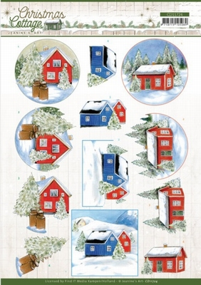 Jeanine Christmas Cottage 3D Knipvel CD11724 Winter Cottage