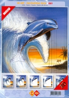 3D Art decoupage Card Deco 3-001 Dolfijn golf