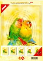 3D Art decoupage Card Deco 3-008 Papagaaien