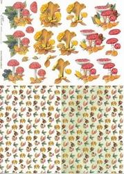 Knipvel A4 Mireille E564 Paddestoelen/achtergrond