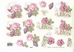 A4 Knipvel TBZ glitter 579215 Bloemen roos met tas/glas