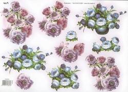 A4 Knipvel TBZ glitter 572879 Bloemen lila/blauw