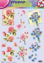 A4 Stansvel Studio Ligth glitter bloemen 53