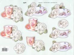 A4 Knipvel TBZ glitter 579190 Kopje thee met roos