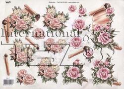 A4 Knipvel TBZ glitter 579117 Bloemen rozen met boekrol
