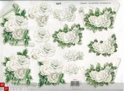 A4 Knipvel TBZ glitter 579015 Witte Bloemen