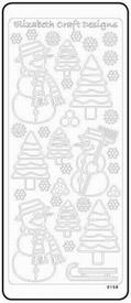 Elisabeth Craft Designs Sticker 0158 Sneeuwman/boom