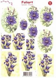 A4 Pyramide knipvel Foliart 669 Bloemen/sterbloem/iris