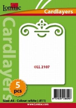 Lomiac Oplegkaart LL2107 bloem met krul wit