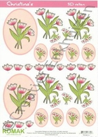 A4 Knipvel Romak Christina's 14 Roze-witte Tulpen