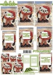 A4 Kerstvel Le Suh pyramide 630121 Panda beren met muts