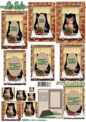 A4 Kerstvel Le Suh pyramide 630010 Poes voor het raam
