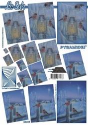 A4 Kerstvel Le Suh pyramide 630119 Vogel met lantaarn