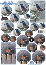A4 Kerstvel Le Suh pyramide 630074 Ijsvogel/roodborstje