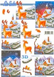 A4 Kerstknipvel Le Suh 777072 Hert in de winter