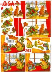 A4 Kerstknipvel Le Suh 650009 Hond/poes bij kerstraam