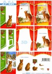 A4 Kerstknipvel Le Suh 650010 Poes bij raam/deur