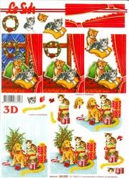 A4 Kerstknipvel Le Suh 650008 Hond/poes met pakjes
