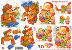 A4 Knipvel Le Suh Kerst 4169138 Beren i/d sneeuw met slee