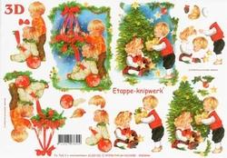 A4 Knipvel Le Suh Kerst 4169190 Kindjes bij kerstboom