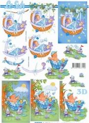 A4 Knipvel Le Suh 4169933 Geboorte baby in wieg/bad blauw