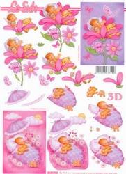 A4 Knipvel Le Suh 4169934 Geboorte baby in bloem/wieg roze