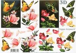 A4 Knipvel Le Suh 4169614 Bloemen rozen met vlinder