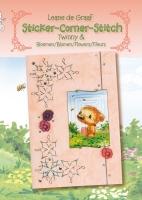 Leane Creatief Sticker-Corner-Stitch Twinny/Bloemen 4-talig