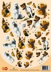 A4 Knipvel Card Deco 3DPP1004 Dieren/honden