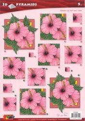 A4 Pyramidevel Nel van Veen 96005 Bloemen in vierkant roze