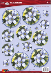 A4 Pyramidevel Nel van Veen 96002 Bloemen in cirkel blauw