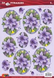 A4 Pyramidevel Nel van Veen 96001 Bloemen in ovaal paars