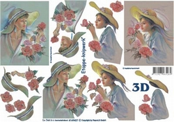 A4 Knipvel Le Suh 4169427 Dame met hoed en bloemen