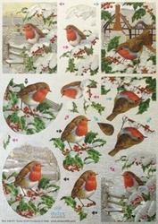 Dufex A4 Kerst Stansvel Metallic 751 Vogels