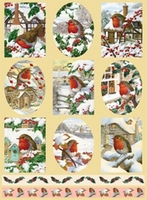 Dufex Metallic Stickervel Kerst 2579 Vogels