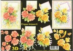 A4 Knipvel Le Suh 4169221 Bloemen gele en roze rozen