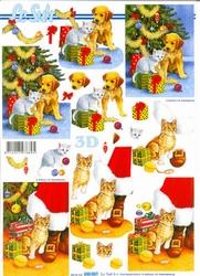 A4 Kerstknipvel Le Suh 650007 Hond/poes bij kerstboom