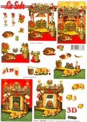 A4 Kerstknipvel Le Suh 650006 Hond/poes bij open haard