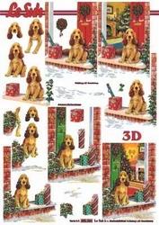 A4 Kerstknipvel Le Suh 650004 Hond bij deur