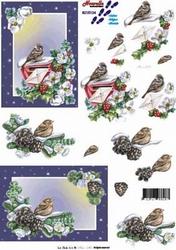 A4 Knipvel Le Suh Winter 8215124 Vogel op brievenbus