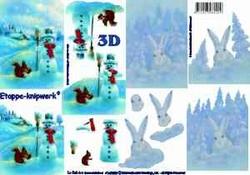 A4 Knipvel Le Suh Kerst 4169585 Sneeuwman/sneeuw konijn