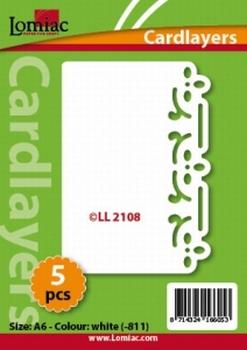 Lomiac Oplegkaart LL2108 bloem ornament ivoor