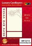 1 Doodey Luxe oplegkaart stans BPC5714 Happy New Year