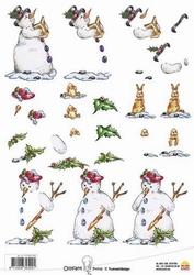 A4 Kerstknipvel Ollyfant 1205 sneeuwpop met boek